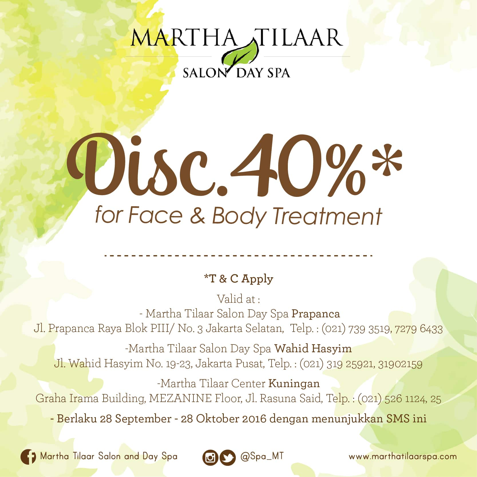 SPECIAL OFFERS FOR KARTU HALO CUSTOMER GET DISCOUNT 40% FOR FACE & BODY TREATMENT